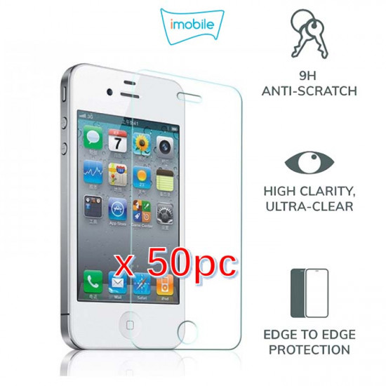 (4104) For iPhone 4S Tempered Glass [Pack of 50]